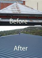 Before and after roof restoration