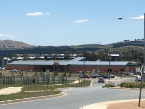 Roof of shopping centre in Canberra suburb of Coombs